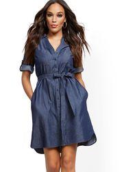 New York & Company Belted Denim Shirtdress - Blue