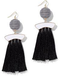 New York & Company - Black-and-white Tassel Drop Earring - Lyst