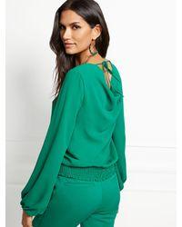 New York & Company Tie-back Draped Blouse - 7th Avenue - Green