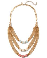 New York & Company Beaded Layered Statement Necklace - Metallic