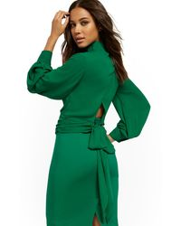 New York & Company Tall Tie-back Wrap Blouse - 7th Avenue - Green