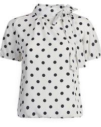 New York & Company Polka Dot Bow Blouse - Sweet Pea - White