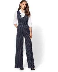 New York & Company - 7th Avenue - Navy Pinstripe Jumpsuit - Lyst