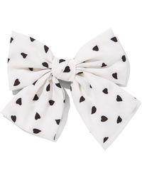 New York & Company Heart-print Bow Hair Clip - White