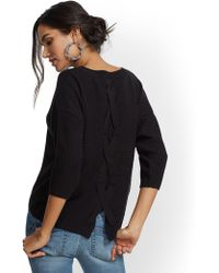 New York & Company - Lace-up Back Sweater - Lyst