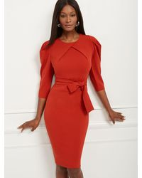 New York & Company Puff-sleeve Sheath Dress - Red