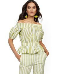 New York & Company Stripe Poplin Off-the-shoulder Top - Green