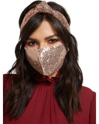 New York & Company 3-piece Sequined Mask, Scrunchie & Hairband Set - Pink