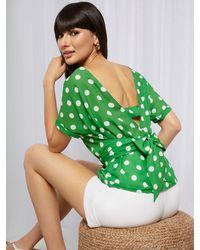 New York & Company Dot-print Bow-back Blouse - Sweet Pea - Green