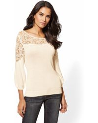 New York & Company - Lace-inset Sweater - Lyst