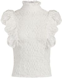 New York & Company Ruffled Lace Blouse - 7th Avenue - White