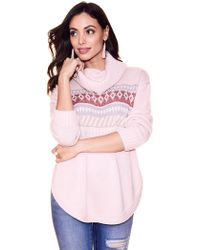 New York & Company - Fair Isle Cowl-neck Sweater - Lyst