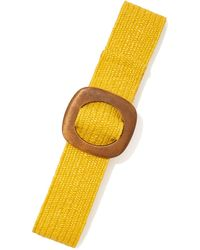 New York & Company Wooden-buckle Raffia Belt - Yellow
