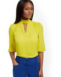 New York & Company Smocked Mock-neck Blouse - Yellow