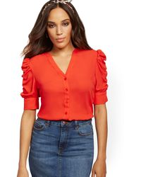 New York & Company Puff-sleeve Shirt - Red