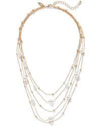 New York & Company Gold Layered Pearl Necklace - Metallic