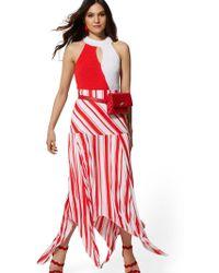 New York & Company Stripe Pleated Handkerchief-hem Skirt - Red