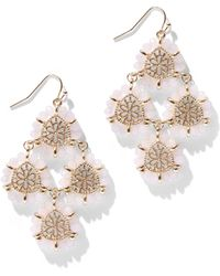 New York & Company - Goldtone Beaded Drop Earring - Lyst