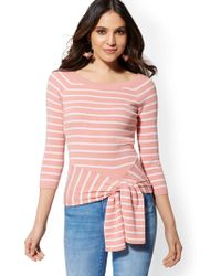 b3b49d2b03 New York   Company - Stripe Tie-waist Sweater - Lyst