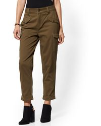 New York & Company High-waisted Cargo Ankle Pants - Olive - Green