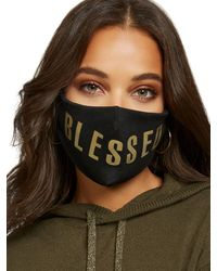 "New York & Company ""blessed"" Face Mask - Black"