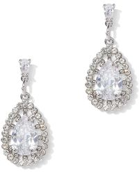 New York & Company - Dazzling Silvertone Cubic Zirconia Drop Earring - Lyst