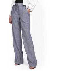 New York & Company Linen Wide-leg Pant - Gray