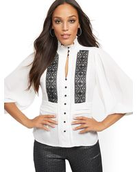 French Connection Womens Vosporos Mixing Lace Print Top
