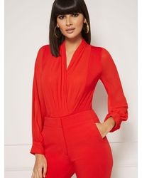 New York & Company Mila Bodysuit - Eva Mendes Collection - Red