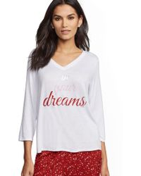 "New York & Company White ""in Your Dreams"" Pajama Top"