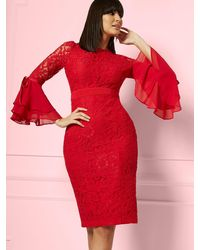 New York & Company Seraphina Lace Sheath Dress - Eva Mendes Party Collection - Red