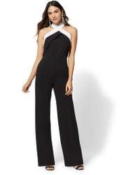 New York & Company - Black & White Halter V-neck Jumpsuit - Lyst