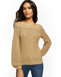 New York & Company Off-the-shoulder Cable-knit Sweater - Natural