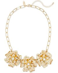 New York & Company Floral Statement Necklace - Metallic