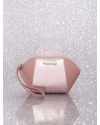 New York & Company 2-tone Metallic Faux-leather Cosmetic Bag - Pink