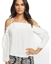 144fabe223b New York & Company - 7th Avenue - Off-the-shoulder Pleated Ruffle Blouse