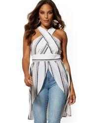 New York & Company Linear-print Crisscross-back V-neck Hi-lo Blouse - Multicolor