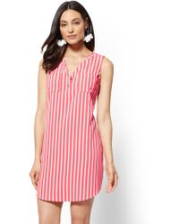 New York & Company - Striped Split-neck Shift Dress - Lyst