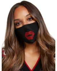 New York & Company Kissy Lips Face Mask - Black