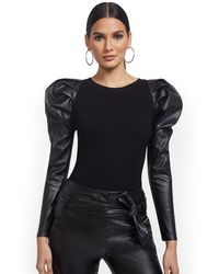 New York & Company - Faux-leather Sleeve Sweater - Lyst