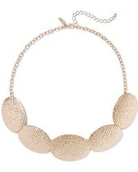 New York & Company - Goldtone Textured Statement Necklace - Lyst
