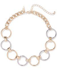6cfb0cbb1b764 Lyst - Kara Ross Circular Gold Chain Link Bib Necklace with Resin ...