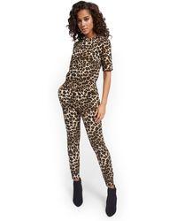 New York & Company Leopard-print Zipper-back Jumpsuit - Black