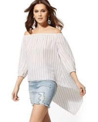 79d671af723ce Vince Camuto · New York   Company - Stripe Off-the-shoulder Hi-lo Blouse -