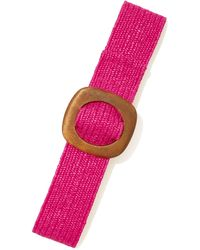 New York & Company Wooden-buckle Raffia Belt - Pink