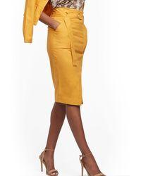 New York & Company D-ring Pencil Skirt - Metallic