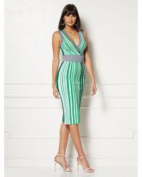 New York & Company Felicia Stripe Sweater Dress - Eva Mendes Collection - Green