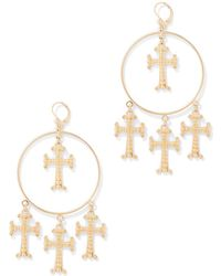 New York & Company - Goldtone Cross Hoop Drop Earring - Lyst