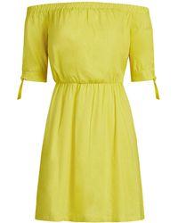 New York & Company Linen-blend Off-the-shoulder Shift Dress - Yellow