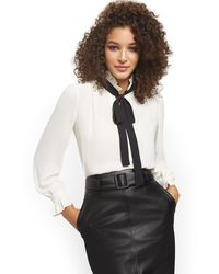 New York & Company Contrasting Self-tie Bow Blouse - White